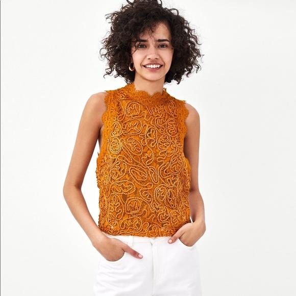 cddf57e7e98568 Zara Tops   Embroidered Lace Round Neck Top   Poshmark